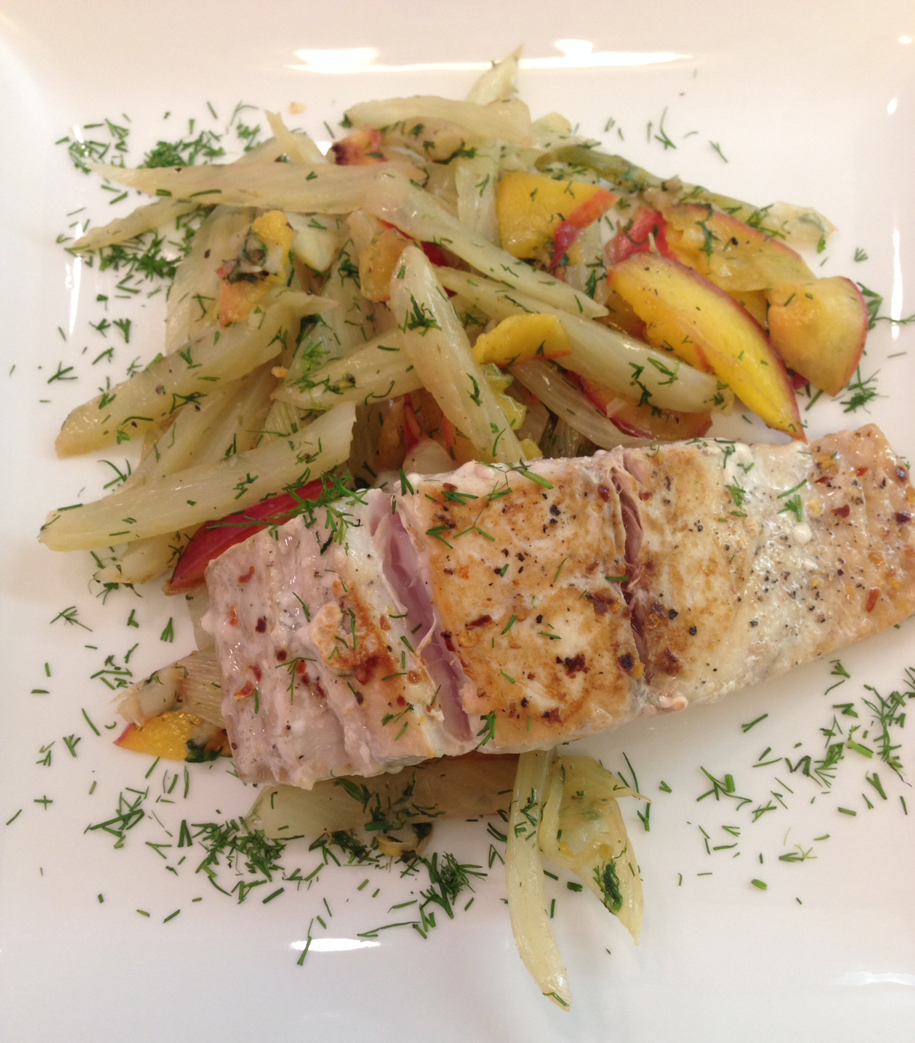 Yellowtail with Fennel and Nectarines