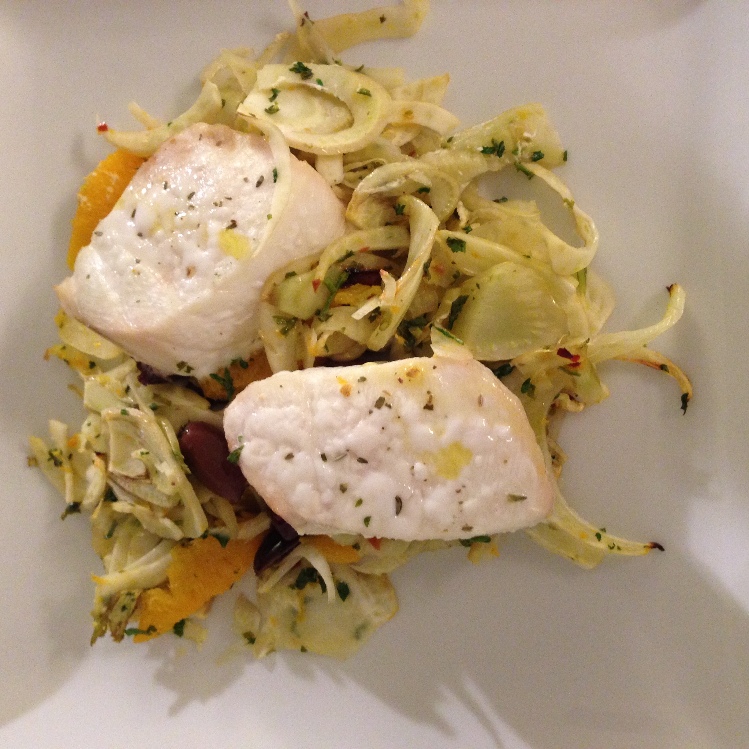 Roasted Halibut with Fennel, Oranges & Olives